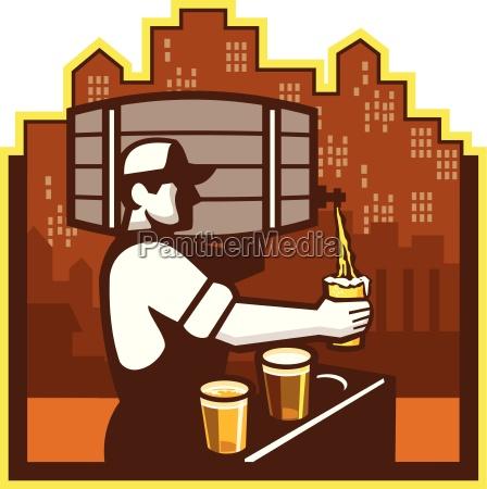 bartender pouring beer keg cityscape retro