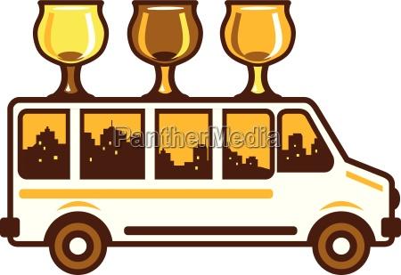 beer flight glass van retro