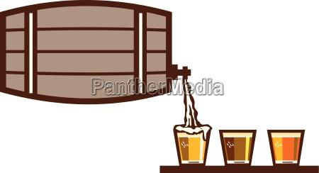 beer flight keg pouring on glass