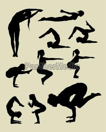 yoga posing silhouettes