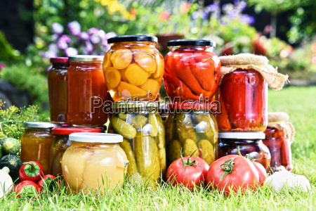 jars of pickled vegetables and fruits