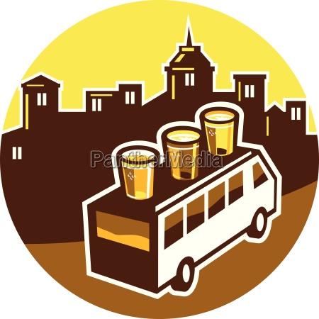 beer flight glass on van buildings