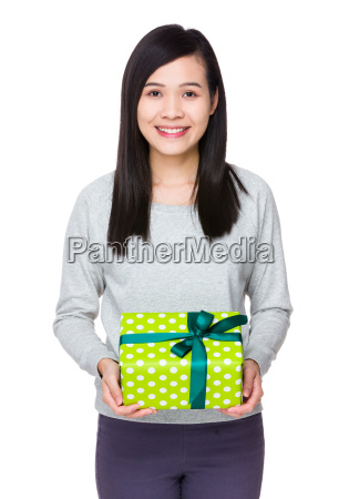 asian woman show with present box