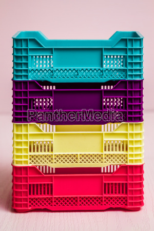 set of colorful small plastic boxes
