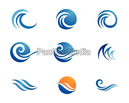 water, wave, logo, template - 18121796