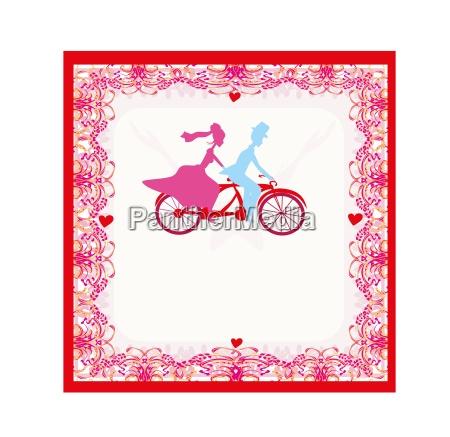 wedding invitation with bride and groom