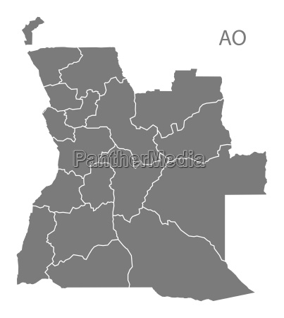 angola provinces map grey