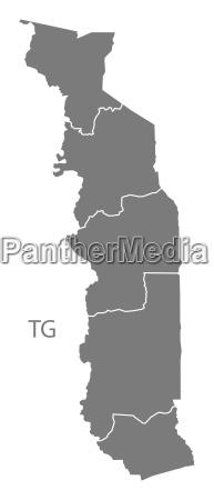 togo regions map grey