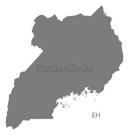 uganda map grey