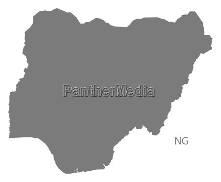 nigeria map grey