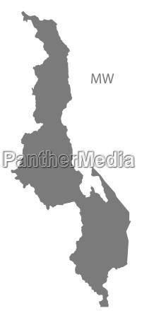 malawi map grey