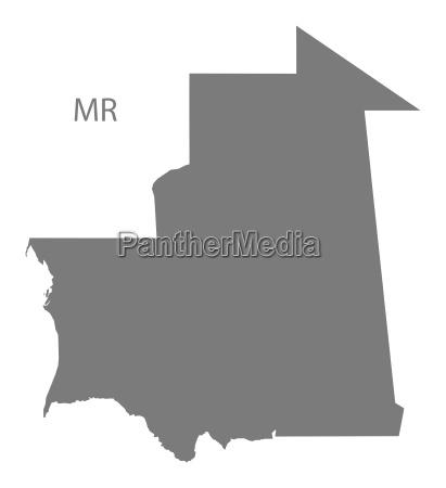 mauritania map grey