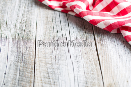 checkered napkin on old table