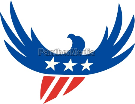 american eagle flying usa flag retro