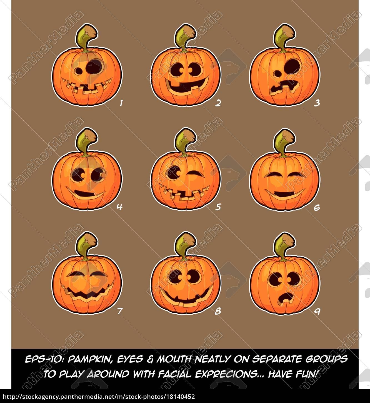 Royalty free vector 18140452 , Jack O Lantern Cartoon 9 Funny n Goof  Expressions Set