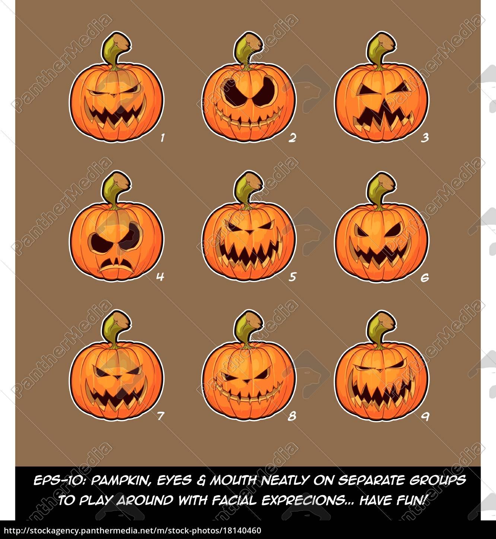 Jack O Lantern Cartoon 9 Scary Expressions Set Royalty Free Photo 18140460 Panthermedia Stock Agency