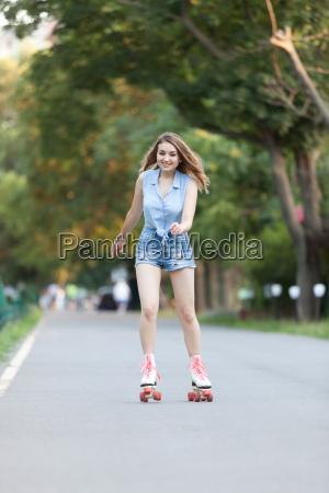 pretty girl on roller skates
