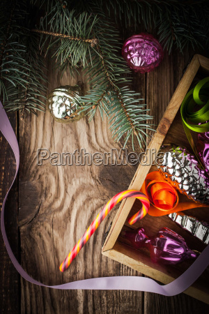 wooden box with christmas tree decoration