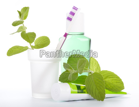toothbrush with toothpaste and fresh leaves