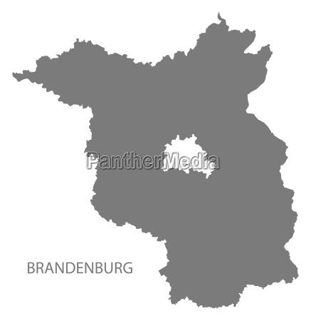 brandenburg germany map grey