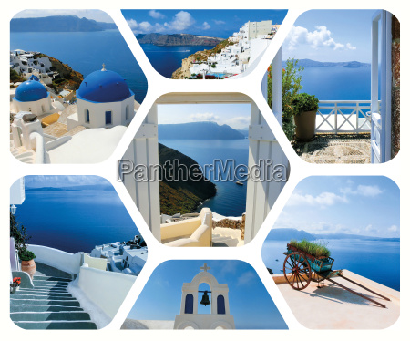 set of summer photos in santorini