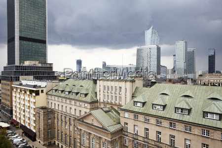 view on old and new warsaw