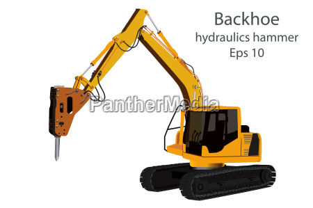 backhoe and hydraulics hammer machine