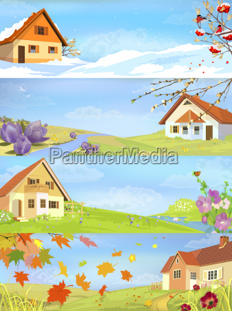 four seasons year landscapes