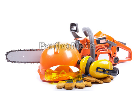 chain saw and protective clothes