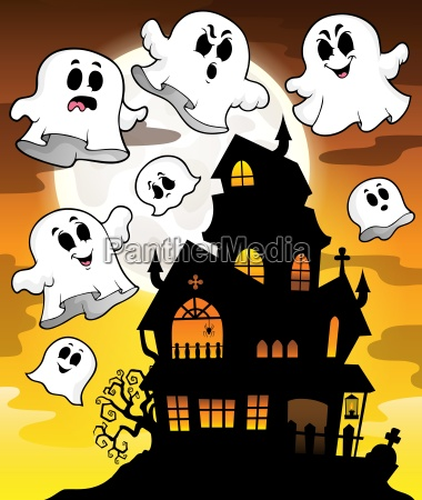 haunted house silhouette theme image 2