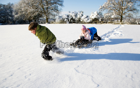 children playing on sledge in the