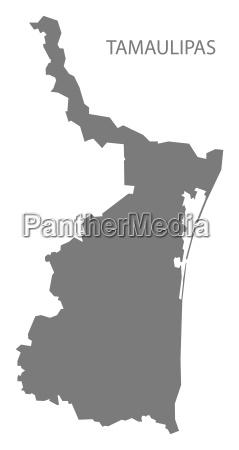 tamaulipas mexico map grey