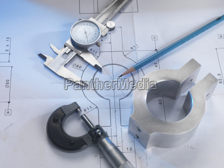 engineering drawing with product micrometer and