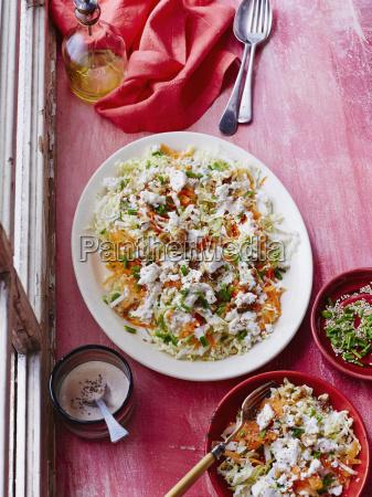 shredded cabbage sesame and feta salad