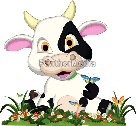 funny cow cartoon in flower garden