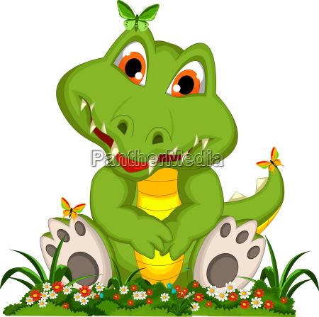 funny crocodile cartoon in flower garden