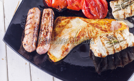 meat sausage and tomatoes