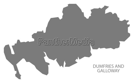 dumfries and galloway scotland map grey