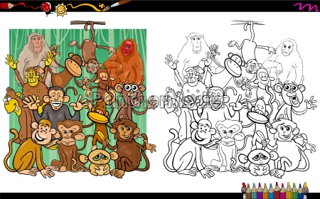 monkey characters coloring book