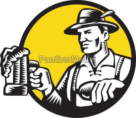 bavarian beer drinker mug circle woodcut