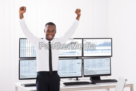 portrait of happy male stock market