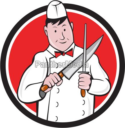butcher sharpening knife circle cartoon