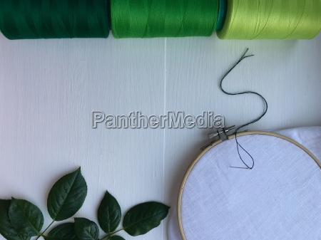 wooden hoop fabric and thread for