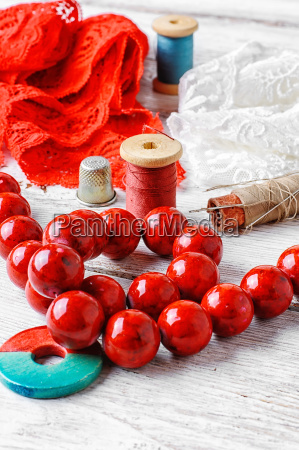 thread button and fabric