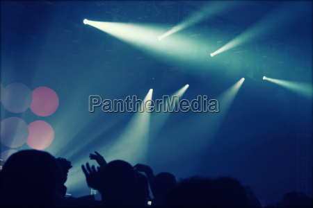 crowd at concert and blurred stage