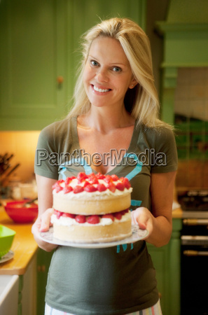 portrait of women with a cake