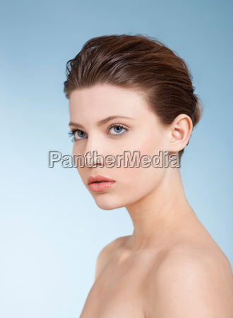 close up of nude womans face