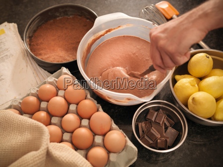 cake mix and ingredients on counter