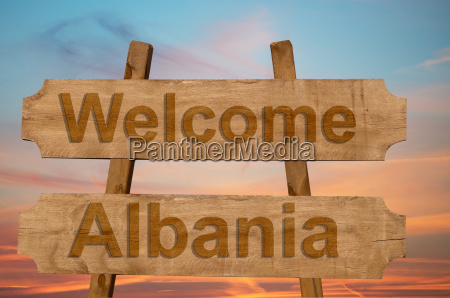 welcome to albania sing on wood