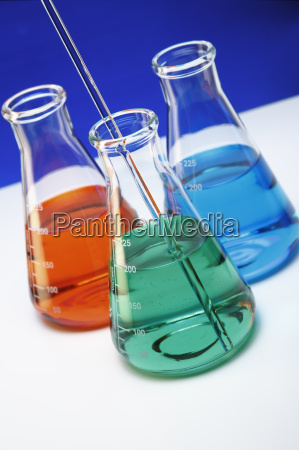 erlenmeyer flasks containing red green and